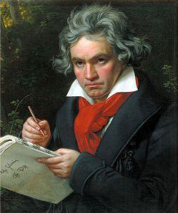 Portrait Beethovens mit der Partitur zur Missa Solemnis