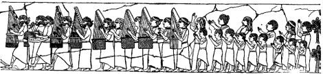 Image of an Assyrian Orchestra, from a slab in the British Museum, dating from 7th century BC. There are 7 portable harps, a dulcimer, two double flutes, and a drum.