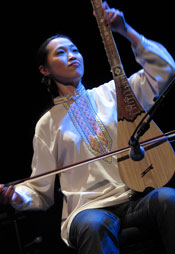 Member of the Vancouver Inter-Cultural Orchestra during a performance