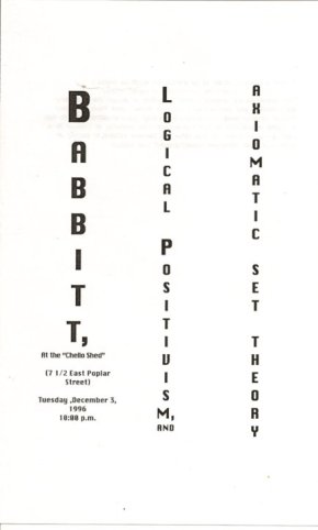 "program cover for ""Babbitt, Logical Positivism, and Axiomatic Set Theory"" presention by Jon Silpayamanant on December 03, 1996"