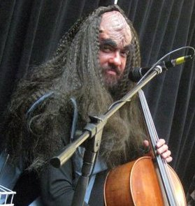 Jon Silpayamanant as j'onn, the Klingon Cellist, during a show at the Children's Museum of Indianapolis