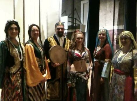 Jon Silpayamanant with Raks Makam, Sabah (director of the Bellydance Superstars) and members of Crescent Moon Bellydance after our performance in Louisville during the Club Bellydance tour