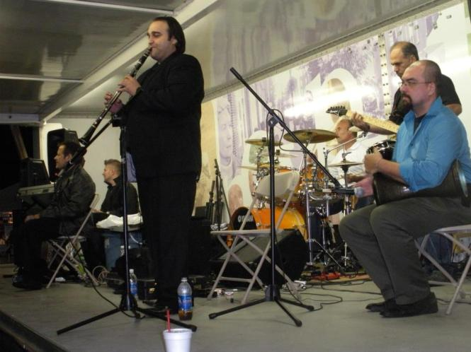Jon Silpayamanant (right) drumming for the Greek band, Kostas and the Wave at the Indianapolis Greek Festival.  September 10, 2010