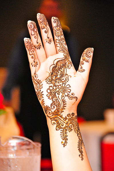 Mehndi design, or temporary tattoo created with Henna and for centuries used on the population in South Asia