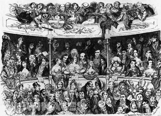 "George Cruikshank's ""A London Audience"" (1836) which may be a portrait during a lecture of Dr. Gall or Dr. Spurzheim"