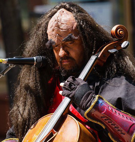 Jon Silpayamanant as a Klingon Cellist at the Joliet Public Library Annual Star Wars Day in the Chicago-land area.