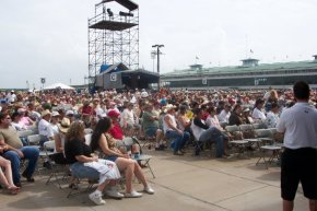 The audience at the Sam Houston Racetrack during day three of the Willie Nelsen Picnic 2008 (July 5th).  this was the biggest crowd of the three shows we did and a significant proportion of the audience were in a much older demographic.