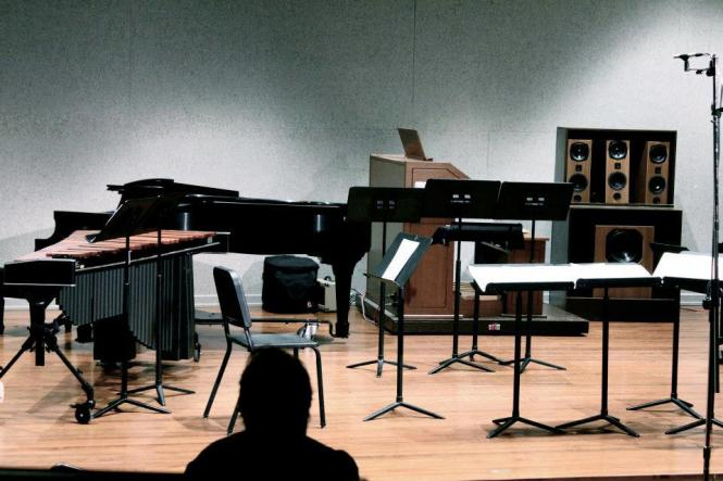 "Set-up for Rachel Short's ""Empty Vessel"" for Flute, Cello, Marimba, Vibraphone and Woodblock.  IU Southeast Recital Hall, 17 December 2012."