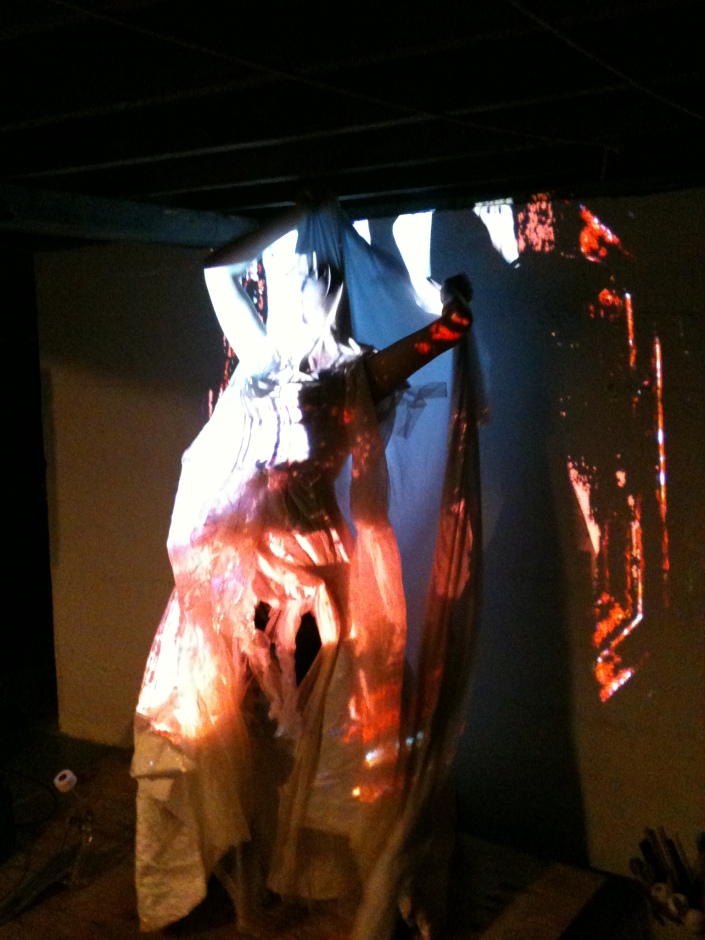 Dancer/Performance Artist, Jamie Lynn Smith testing out her costume with the video projections at a Camera Lucida rehearsal. December, 2012.