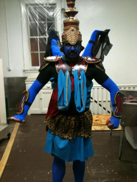Jon Silpayamanant as Shiva before performing with his dance/music duo, Secondhand, in Newport.  March 30, 2013