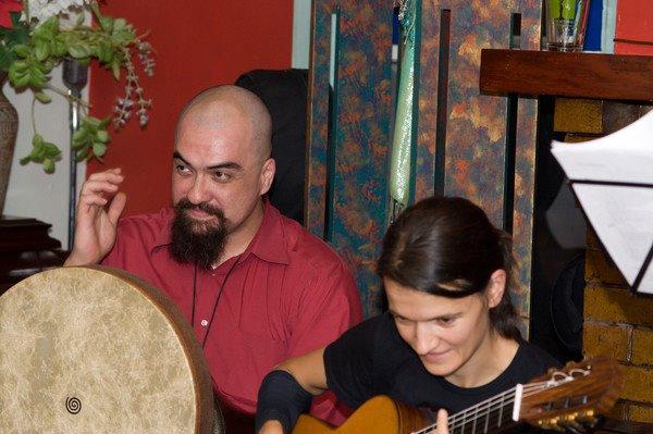 Jon Silpayamanant and  Maja Radovanlija at a Kermes show at Cafe Django in Bloomington, Indiana.  Kermes is a Balkan band that focuses on music from Eastern Europe.  July 29, 2011