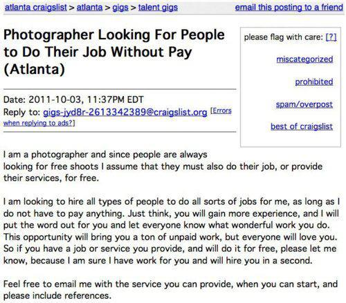 Photographer Looking For People to Do Their Job Without Pay (Atlanta)