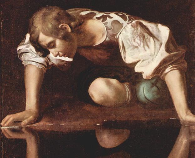 """""""Narcissus,"""" by Michelangelo Merisi da Caravaggio (ca 1597-1599)"""