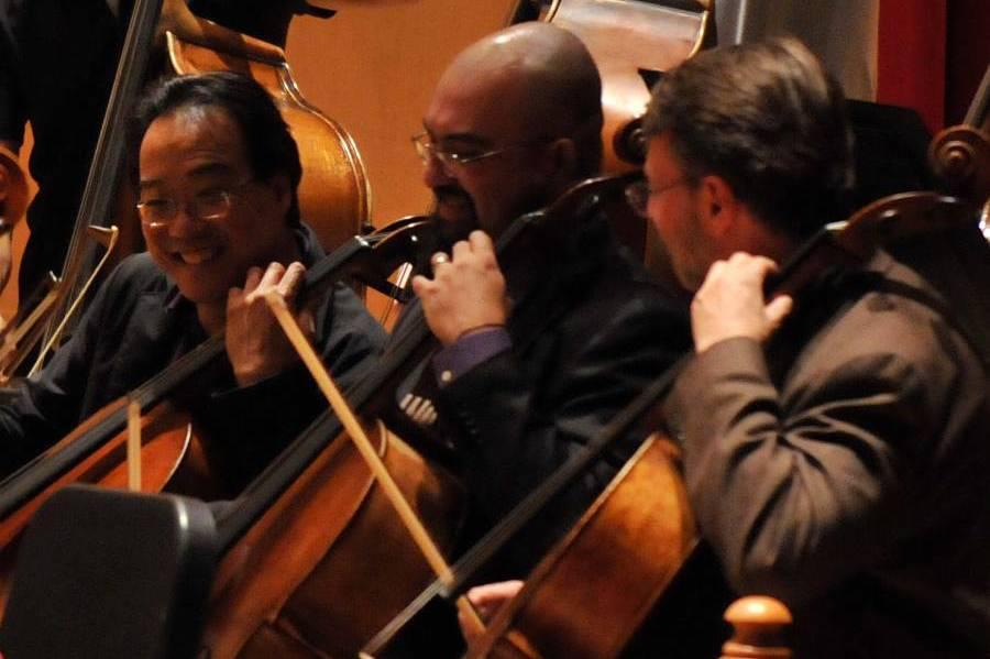 Jon Silpayamanant playing with Yo-Yo Ma and Eric Edberg in Kresge Auditorium during DePauw Discourse. September 29, 2011.