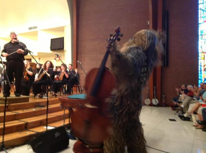 Jon Silpayamanant as a Wookiee Cellist at a recent Louisville Philharmonia Pops Concert.