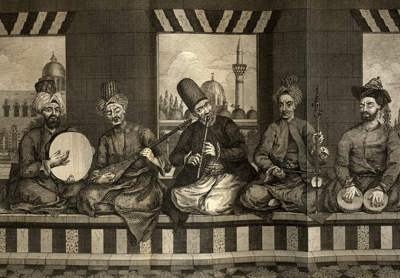 Syrian music band from Ottoman Aleppo, mid 18th century, by Alex. Russel, M.D. 1794.
