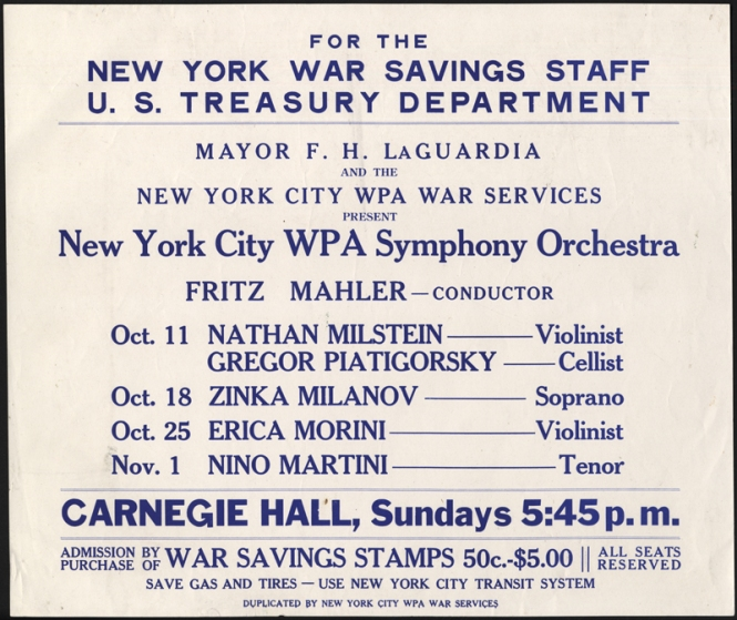 A New York City WPA Orchestra flyer