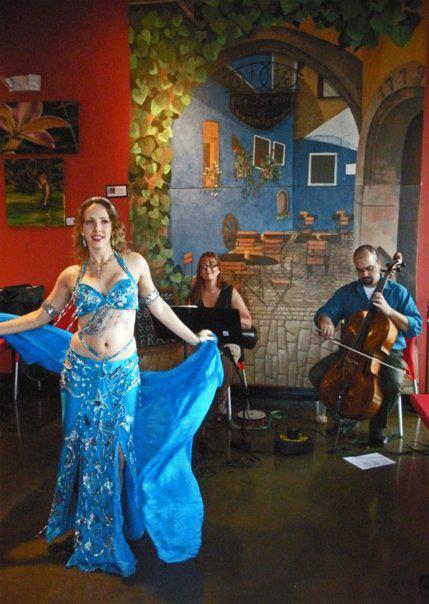 Jon Silpayamanant performing with Arabic Band, Ahel El Nagam, for bellydancer, Azayani  at Shiraz Mediterranean Grill in Louisville.