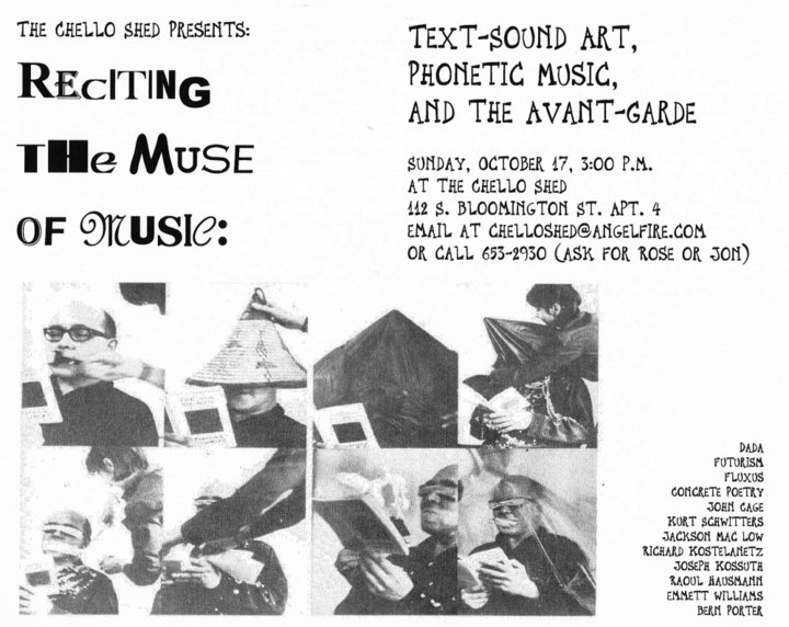 """Reciting the Muse of Music: Text-Sound Art, Phonetic Music, and the Avant-Garde"" presention by Jon Silpayamanant on October 17, 1999"