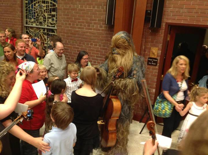 Jon Silpayamanant ffter the Louisville Philharmonia  Summer Pops Concert as the Wookiee Cellist (June 13, 2013)