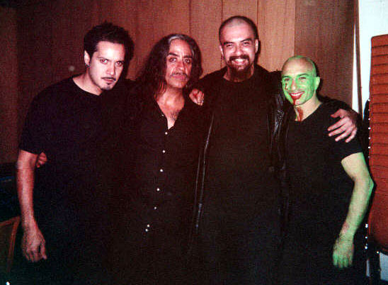 "After a performance with Roberto Sifuentes, Guillermo Gómez-Peña, Jon Silpayamanant, Juan Ybarra after a performance of ""Aztechnology"" @ the Zoller Gallery (Penn State University) in October 2000"
