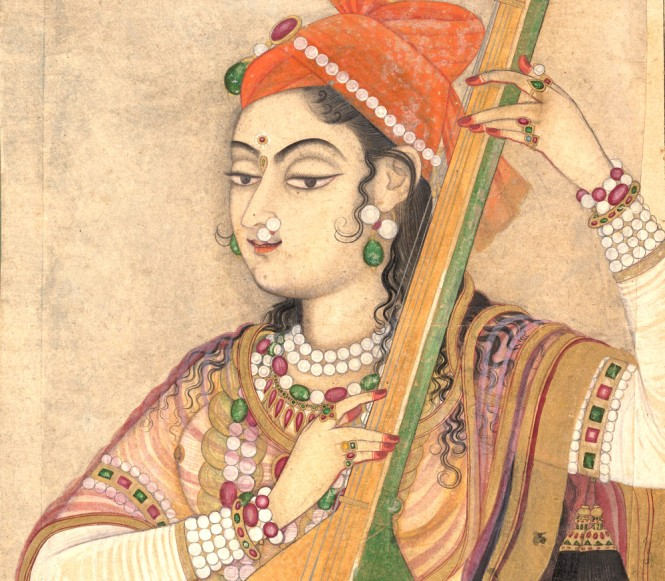 detail of A Lady Playing the Tanpura, ca. 1735 India (Rajasthan, Kishangarh) Ink, opaque and transparent watercolor, and gold on paper