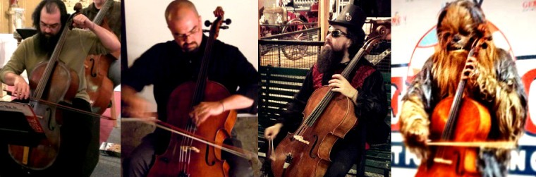 Jon Silpayamanant (from l. to r.) as a baroque cellist, an improvising cellist, a steampunk cellist, and the Wookiee cellist.