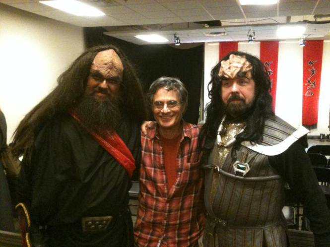 The Il Troubadore Klingon Music Project with the creator of the Klingon Language, Marc Okrand, after playing during the opening night of the Cincinnati Klingon Christmas Carol!