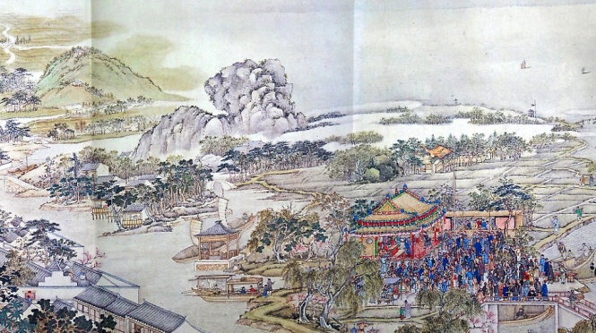 "Detail from Xu Yang's ""Prosperous Suzhou"" scroll which was the inspiration for Jon Silpayamanant's ""Shengshi zisheng tu"" 盛世滋生圖 for erhu, electronics, and video"