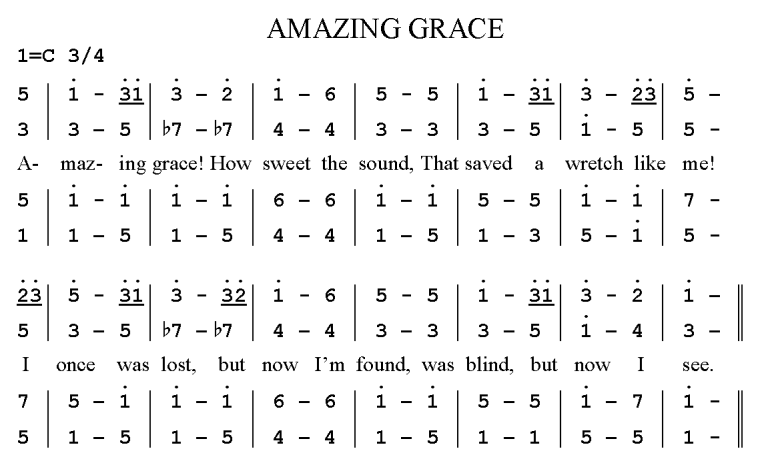 """Amazing Grace"" written in jianpu, a system of notation likely derived from the French Galin-Paris-Cheve system and more commonly used in China than standard Western notation which was more dominant during the cultural revolution period."