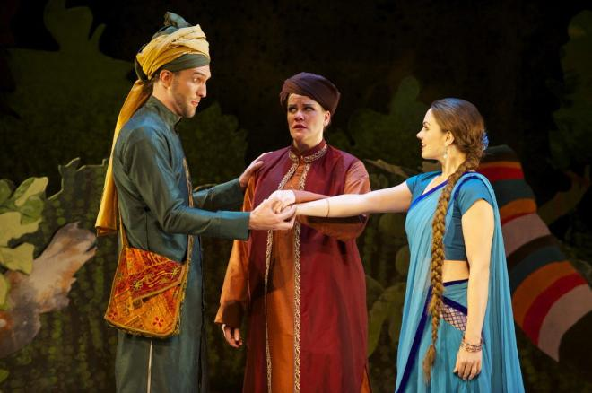 """Eamon Pereyra (from left) plays Jaquino, Cassandra Black is Leonore and Erica Schuller plays Marzelline in """"Fidelio."""""""
