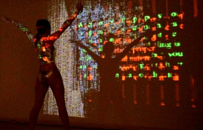 """Christine Olson dancing to Camera Lucida's """"Fossils"""" at the Commonwealth Gallery in Madison, WI.  November 10, 2012"""