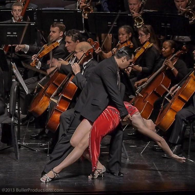 "Elizabeth Wingfield and Mauro Marcone dancing to Piazzola's ""Libertango"" performed by the Houston Latin-American Philharmonic"