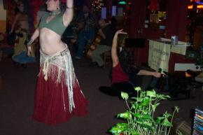 Belly Dancers and Yoginis at the il Troubadore World Music and Dance Night at Deano's Vino (Indianapolis, IN). December 12, 2007.