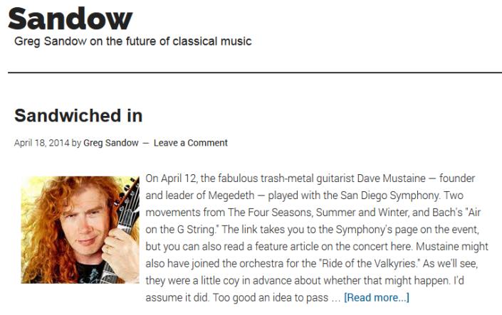 "Greg Sandow's blog post, ""Sandwiched in"""