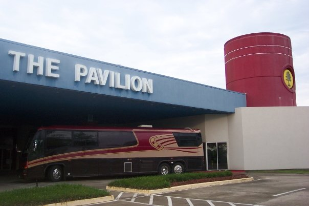 Photo of the tour bus Jon Silpayamanant took outside the Pavilion at the Cypress Bayou Casino in Charenton, Louisiana before soundcheck.