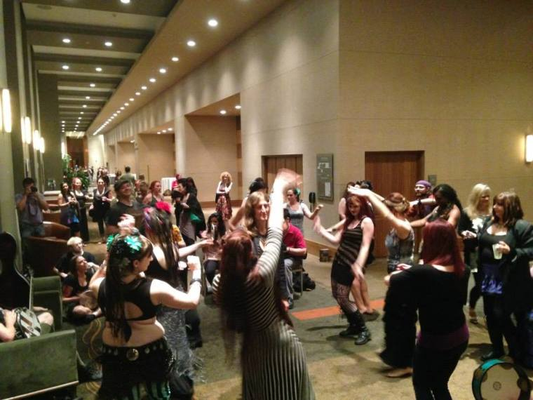 I took a break from playing to take a pic of the musicians and dancers playing together long after the gala show at Tribal Revolution Bellydance and Music Festival in Chicago, IL. I recal some of these afterpartyes going until 5-6 am in the morning.  June 29, 2014