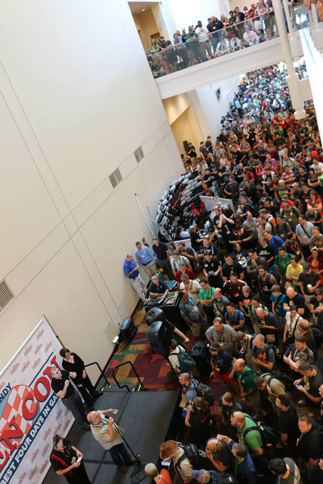 "The ""Main Stage"" at Gen Con in Indianapolis, Indiana. In 2014, Gen Con had a record breaking unique audience count of 56,000 with a 184,000 turnstyle count."