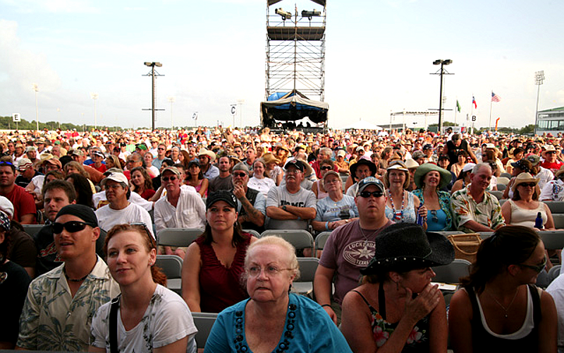 View of the audience from in front of the stage at the Sam Houston Race Park in Houston, Texas.
