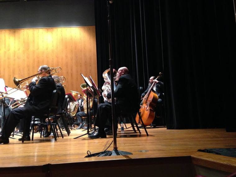 "Jon Silpayamanant playing bass with the IU Southeast Concert Band. This was during the world premiere of composer, Peter Felice's ""Arctic Sphere"" for Concert Band. November 15, 2015"