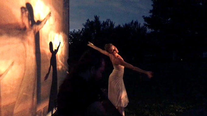 Louisville Ballet choreographer/dancer, Ashley Thursby Kern collaborating with interactive video/cello project, Camera Lucida at Bernheim Arboretum and Forest. August 23, 2016. Still image from video.