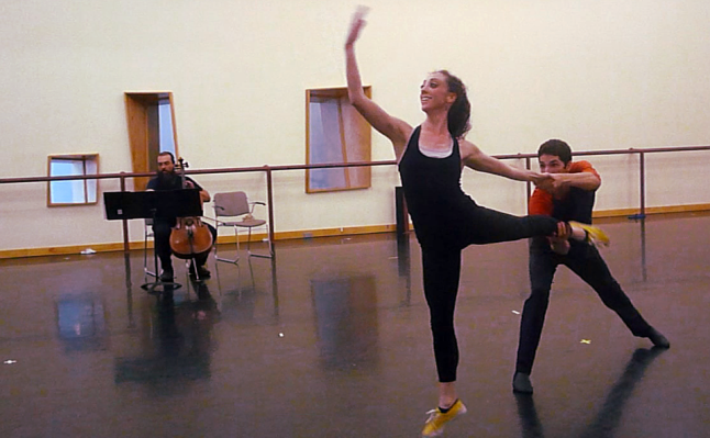"""In studio 1 of the Louisville Ballet rehearsing """"Plain Jane"""" with Lacey Elliston and Alex Kingma. Choreography by Lucas Jervies; music by Tristen Parr. October 9, 2015. Still from rehearsal video."""